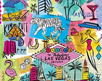 Las Vegas illustration, modern, whimsical wall art, print, giclee, home decor. bright colours by Farida Zaman