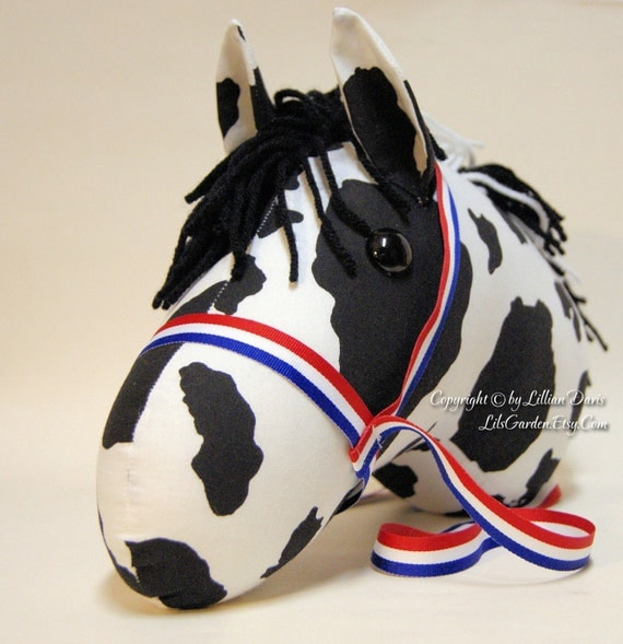 Black & White Pinto Stick Horse Head MADE to ORDER, With or Without Stick, choice of bridle colors