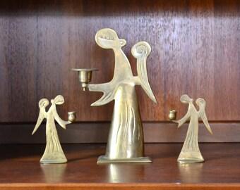 vintage mid-century minimalist brass angel candle holders