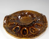 Pottery deviled egg plate, ceramic egg dish with handles, stoneware egg plate with sauce bowl set, brown glaze, ceramic egg plate with bowl