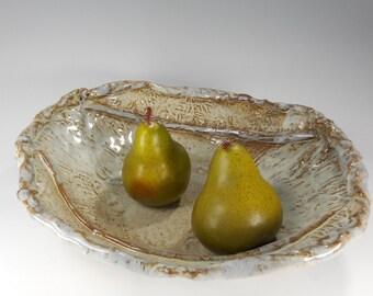 Stoneware serving bowl, hand built pottery bowl, ceramic serving bowl, pottery serving bowl, pottery fruit bowl