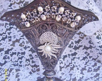 OOAK Antique Silverplate Rhinestone Pearl Embellished Fan Vase-Wedding Engagement Party