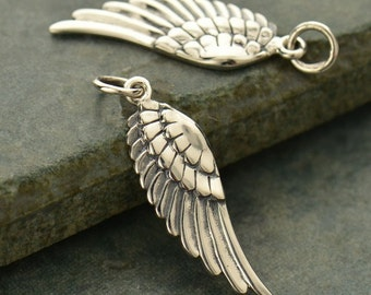 Medium Left Sterling Silver Angel Wing Charm - Aviary, Ribbed Wing, Clarity, C927L