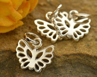 Tiny Sterling Silver Butterfly Charm - c954, Insects, Wings, SALE REDUCED
