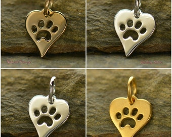 Heart Charm with Paw Print - Pets, Dogs, Cats, Pet Lover, Animal Lover, C1161
