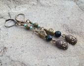 Sale - Buddha Head dangle Earrings - Yoga jewelry, Zen earrings, Antiqued Brass earrings, dark green, turquoise