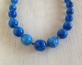 Sea Blue With Subtle White Specks Vintage 60s Glass Beaded Jewelry Necklace