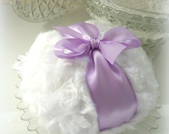 Lavender and White Powder Puff - big dusting pouf - gift boxed - made by Bonny Bubbles
