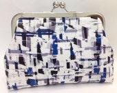 clutch purse - a little blue   - 6 inch metal frame clutch purse / medium purse / blue grey / graphic / kiss lock clutch