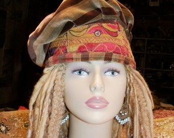 Beret Hat Olive Brown Rust Sage Tan Velvet Asymmetrical Beret Vintage Indian Embroidery Mirror Work Krishna Playing Flute Gypsy Boho Hat
