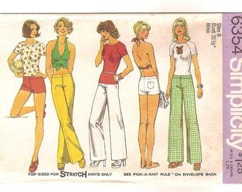 Vintage 70s Sewing Pattern -Halter Top, Knit Tee Shirt, Hip Hugger Pants or Short Shorts -Simplicity 6354 Size 8 UNCUT