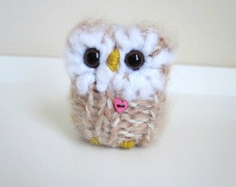 Little Springtime Baby Love Owl, Knitted Woodland Animal, Wool and Mohair