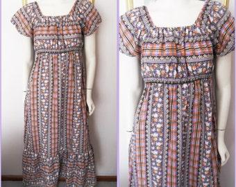 Vtg.70s Purple Orange Grey White Black Floral Plaid On Off Shoulder Gypsy Maxi Dress.S/M.Bust 36-38.Waist 24-34.