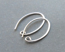 Small Oval Sterling Silver Ear Wires, Ear Hook, Two Or More Pair, Sterling Silver Findings