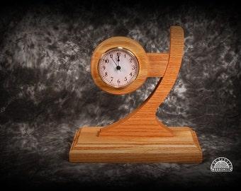 Oak desk clock abstract design