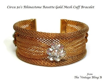 50's Rhinestone Gold Mesh Ribbon Cuff Bracelet with Pave Set Rosette Crystals - Vintage 1950s Costume Jewelry