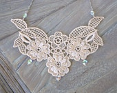 Leila - Vintage Lace and Crystal Necklace