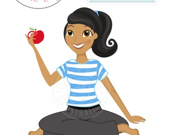 Cute Girl Sitting Yoga Style with Apple Character Illustration - Dark Skin, Woman Character, Yoga Girl Illustration, Blog Character