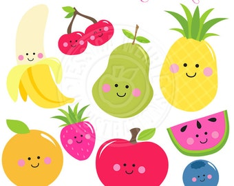 Kawaii Fruit Cute Digital Clipart, Cute Fruit Clip Art, Smiling Fruit Clipart, Fruit Graphics, Apple Clipart, Pear Clipart, Banana, Cherries