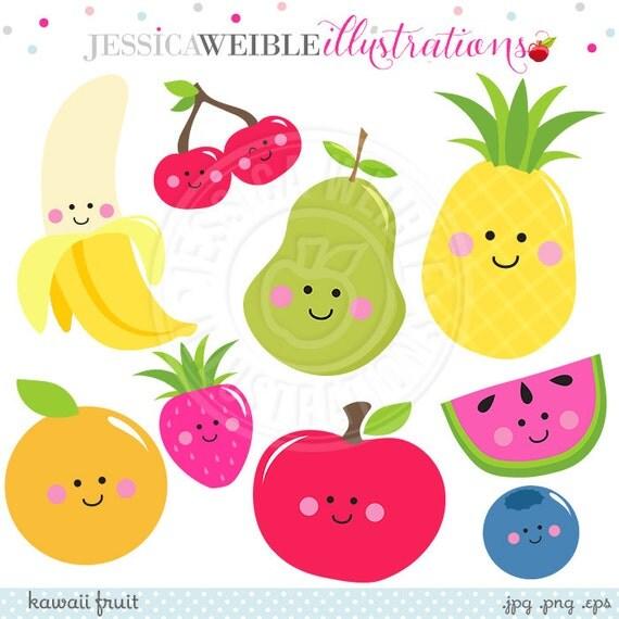 Kawaii Fruit Cute Digital Clipart, Cute Fruit Clip Art, Smiling Fruit ...