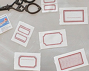 6 Red Frame Cotton Labels (1.4 x 13.4in)