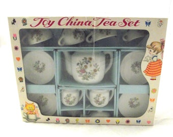 Toy Tea Set, Vintage Flowered China Set with Illustrations in Box