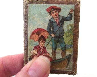 Vintage Pocket Mirror, Leather Frame with Illustration of Vintage Boating Couple
