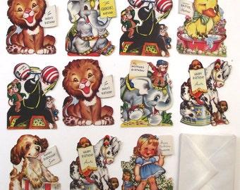 Sale 50% Off, Die-Cut Animal Birthday Cards, Set of 11 Vintage Unused Cards with Envelopes
