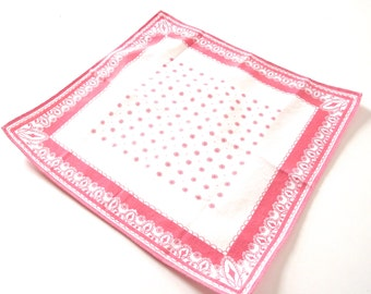 Pink and White Vintage Ladies Handkerchief or Hankie with Flower Print