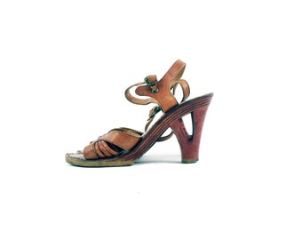 HALEY 70s Caramel Brown Leather Rustic Retro Strappy Heel Sandal Bohemian Chic Summer Wooden Sole Shoe High Heels Size 6