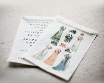 4 3/4 x 6 3/4 Paper Dolls & Letters- Glassine Bags set of 12  || Wedding Favor Bags, Treat Bags, Sewing