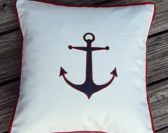 SALE Navy Blue Anchor Nautical Beach Theme Pillow Cover With Contrasting Red Piping - Purchase With Or Without Pillow Form