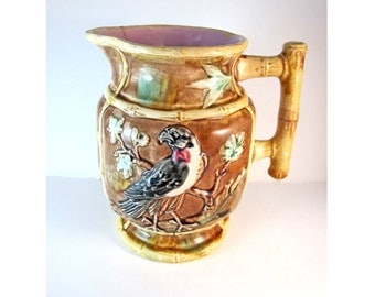 Antique Majolica Pitcher with Eagle