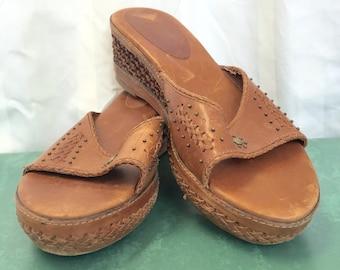 Vintage Frye Wedge Sandals // 1990s