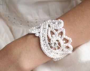 Bridal Bracelet, Hand Beaded Bracelet, Wedding Cuff