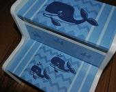 Kids Personalized 2 Step Stool - Chevron Blue Whales