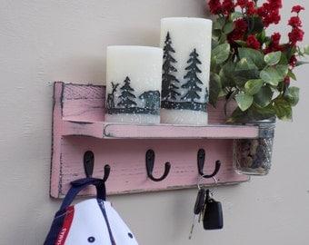Handmade Coat Rack Shelf With Jar Vase, Key Holder, Hat Rack