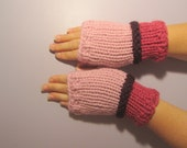 Fingerless Gloves - Pink and Purple Hand Knit Fingerless Gloves