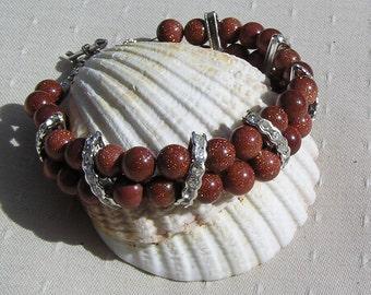 """Brown Goldstone Crystal Gemstone Bracelet """"Quest"""", Brown Bracelet, Chakra Bracelet, Goldstone Bracelet, Silver Bracelet, Glamour Bracelet"""