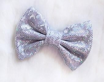 Micro Mini Silver Holographic Hair Bow