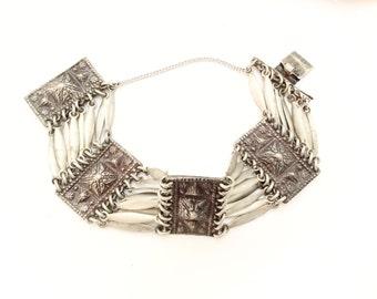 beautiful antique panel bracelet Ethnic bracelet wide bracelet semi-rigid antique silver color