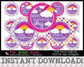 "Choose Happiness - girly inspirational quotes - INSTANT DOWNLOAD 1"" Bottle Cap Images 4x6 - 813"
