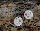 SALE Crosses and  flowers - Handpainted ceramic earrings on sterling silver