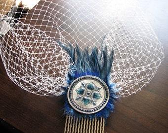 Hair comb veil | blusher wedding | birdcage | something blue | floral hair piece