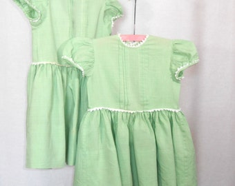 Girls Dresses Vintage Dress 40s Dress Green Dress Fit and Flare Dress