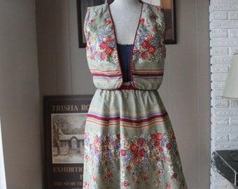 Folklorica Suttles Seawinds Nova Scotia Skirt Vest set Cotton artisan 80s designer Oktoberfest Medium
