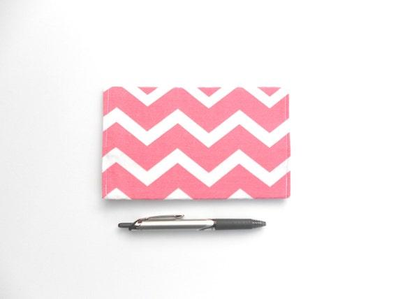 Pretty Checkbook Cover ~ Checkbook cover in coral pink chevron by designsbyrachellynn