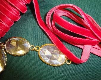 "Charm elegance with rich 5 yards 1/4"" width ( 6.3 mm )  luxurious red geranium velvet ribbon trim ( ribbon made in Switzerland)"