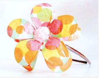 Color Bubble Double Daisy Paper Mache Headband