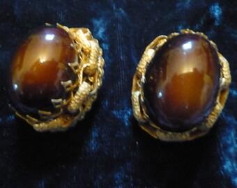 MIRIAM HASKELL EARRINGS Smokey Brown Gem earrings